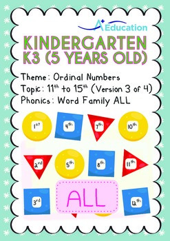 Ordinal Numbers - 11th to 15th (III): Word Family ALL - K3