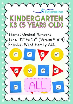Ordinal Numbers - 11th to 15th (IV): Word Family ALL - K3 (5 years old)