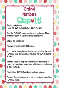 "Ordinal Numbers: 1st-10th ""Slap-It!"" card game math center February"