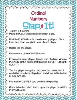 """Ordinal Numbers: 1st-10th """"Slap-It!"""" card game math center January"""