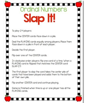 Ordinal Numbers Card Game: September