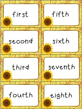 "Ordinal Numbers: 1st-10th ""Slap-It!"" card game math center Thanksgiving Theme"