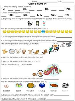 Ordinal Numbers: 1st - 20th Practice Sheet or Assessment - King Virtue
