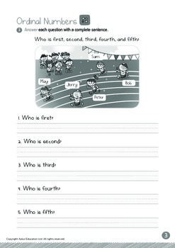 Ordinal Numbers - 1st to 5th (I): Word Family AD - K3 (5 years old)