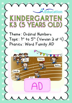 Ordinal Numbers - 1st to 5th (II): Word Family AD - K3 (5