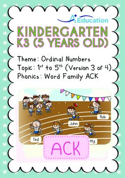Ordinal Numbers - 1st to 5th (III): Word Family ACK - K3 (5 years old)