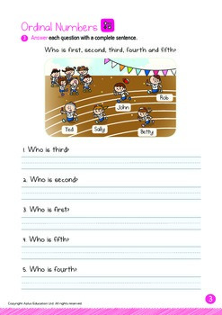 Ordinal Numbers - 1st to 5th (IV): Word Family ACK - K3 (5 years old)