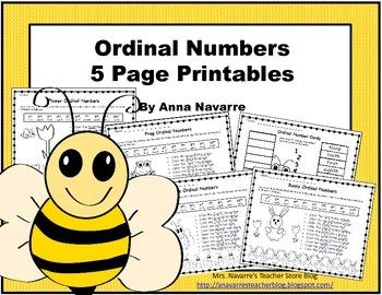Ordinal Numbers - 5 Page Printables
