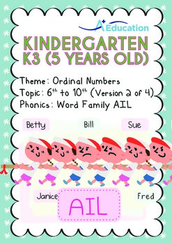 Ordinal Numbers - 6th to 10th (II): Word Family AIL - K3 (5 years old)