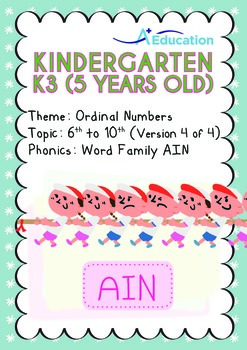 Ordinal Numbers - 6th to 10th (IV): Word Family AIN - K3 (5 years old)