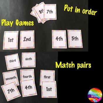 Ordinal Numbers Math Activities 0-10