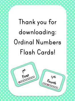 Ordinal Numbers Flash Cards