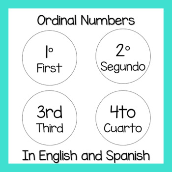 Ordinal Numbers Flash Cards 1st to 10th (In English and Spanish)