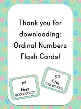Ordinal Numbers Flash Cards - Flower Theme