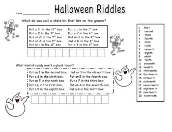 Ordinal Numbers Halloween Riddles by Brook | Teachers Pay Teachers