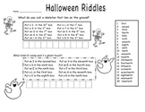 Ordinal Numbers Halloween Riddles
