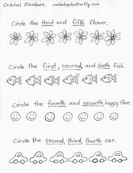 Ordinal Numbers Hand-Drawn Printables