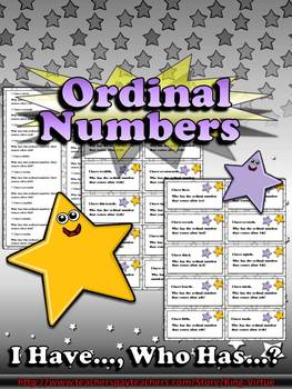 Ordinal Numbers I Have..., Who Has...? Game - 1-20 - King Virtue