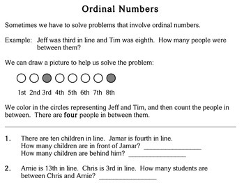 Ordinal Numbers - Individualized Math - worksheets