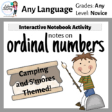 Ordinal Numbers Interactive Notebook Activity - Camping and S'mores Theme