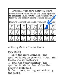 Ordinal Numbers Matching Math Center Task Cards