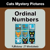 Ordinal Numbers - Math Mystery Pictures / Color By Number - Cats