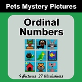 Ordinal Numbers - Math Mystery Pictures / Color By Number - Pets