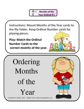 Ordinal Numbers Months of the Year: File Folder