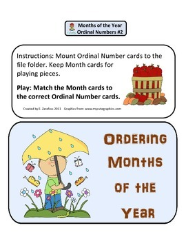 Ordinal Numbers Months of the Year #2: File Folder