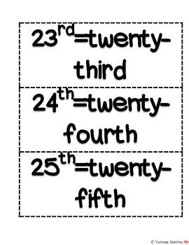 Ordinal Numbers Packet