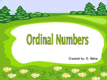 Ordinal Numbers Power Point Presentation