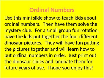 Ordinal Numbers Powerpoint and Dinosaur Activity