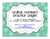 Ordinal Numbers Practice Pages