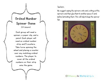 Ordinal Numbers Resource Set