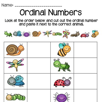 Ordinal Numbers - Cut and Paste by Curious Teaching | TpT