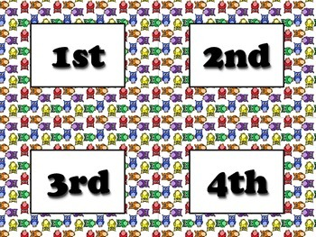 Ordinal Numbers Vocabulary Strips - Word Wall - Owls Theme - King Virtue