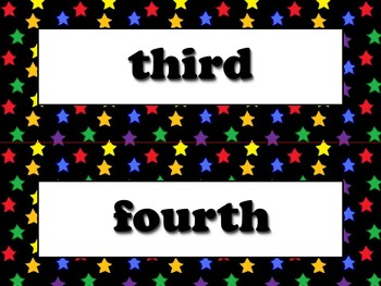 Ordinal Numbers Vocabulary Strips - Word Wall - Superstars Theme