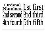 Ordinal Numbers Word Wall