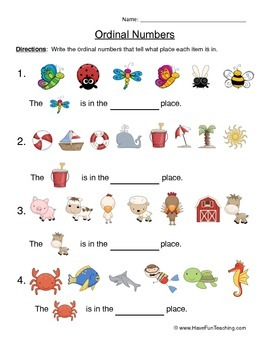 Ordinal Numbers Worksheet by Have Fun Teaching | TpT