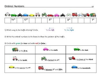 Ordinal Numbers Worksheet Differentiated - Kindergarten to Grade 1- Cars in line