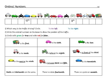 Ordinal Numbers Worksheet Differentiated - Kindergarten to Grade 1 ...