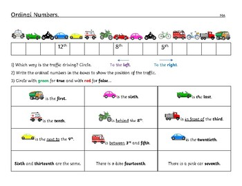Ordinal Numbers Worksheet Differentiated Kindergarten To