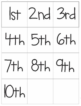 Ordinal Numbers and Words Memory