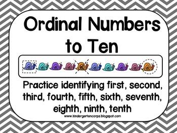 Ordinal Numbers to Ten