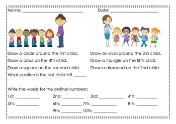 Ordinal Numbers to Tenth