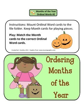 Ordinal Words Months of the Year #2: File Folder