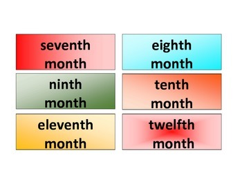 Ordinal Words Months of the Year: File Folder
