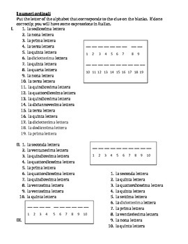 Numeri ordinali (Ordinal numbers in Italian) puzzle