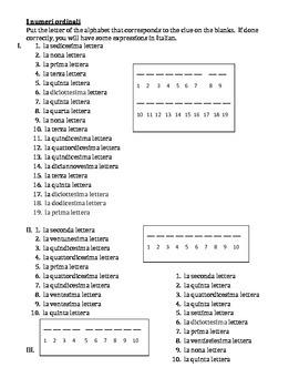 Numeri ordinali (Ordinal numbers in Italian) puzzle