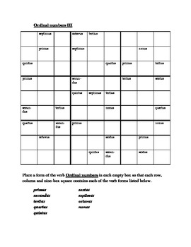 Numeros (Ordinal numbers in Latin) Sudoku